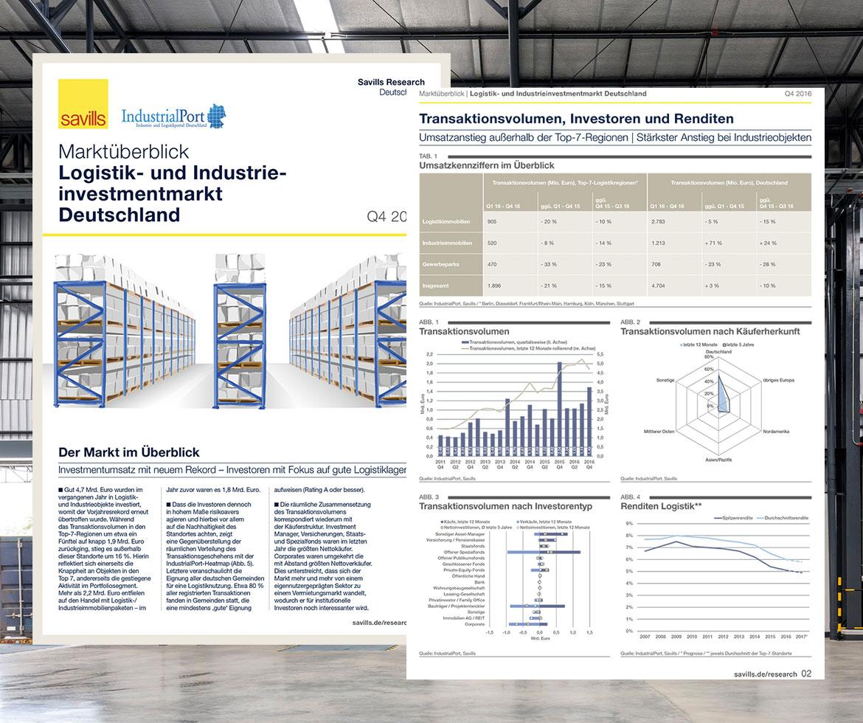 Savills IndustrialPort Marktüberblick Logistik- und Industrieinvestmentmarkt Deutschland