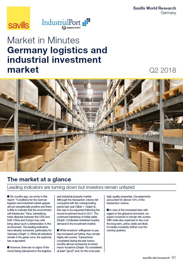 Logistik- und Industrieinvestmentmarkt Dtl. Q2-2018_Titelseite en
